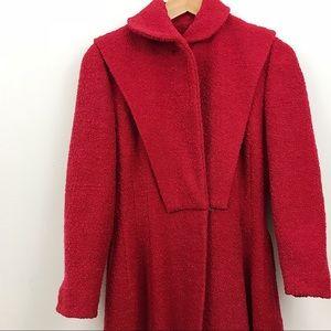 VINTAGE red Juilliard wool knee length pea coat S